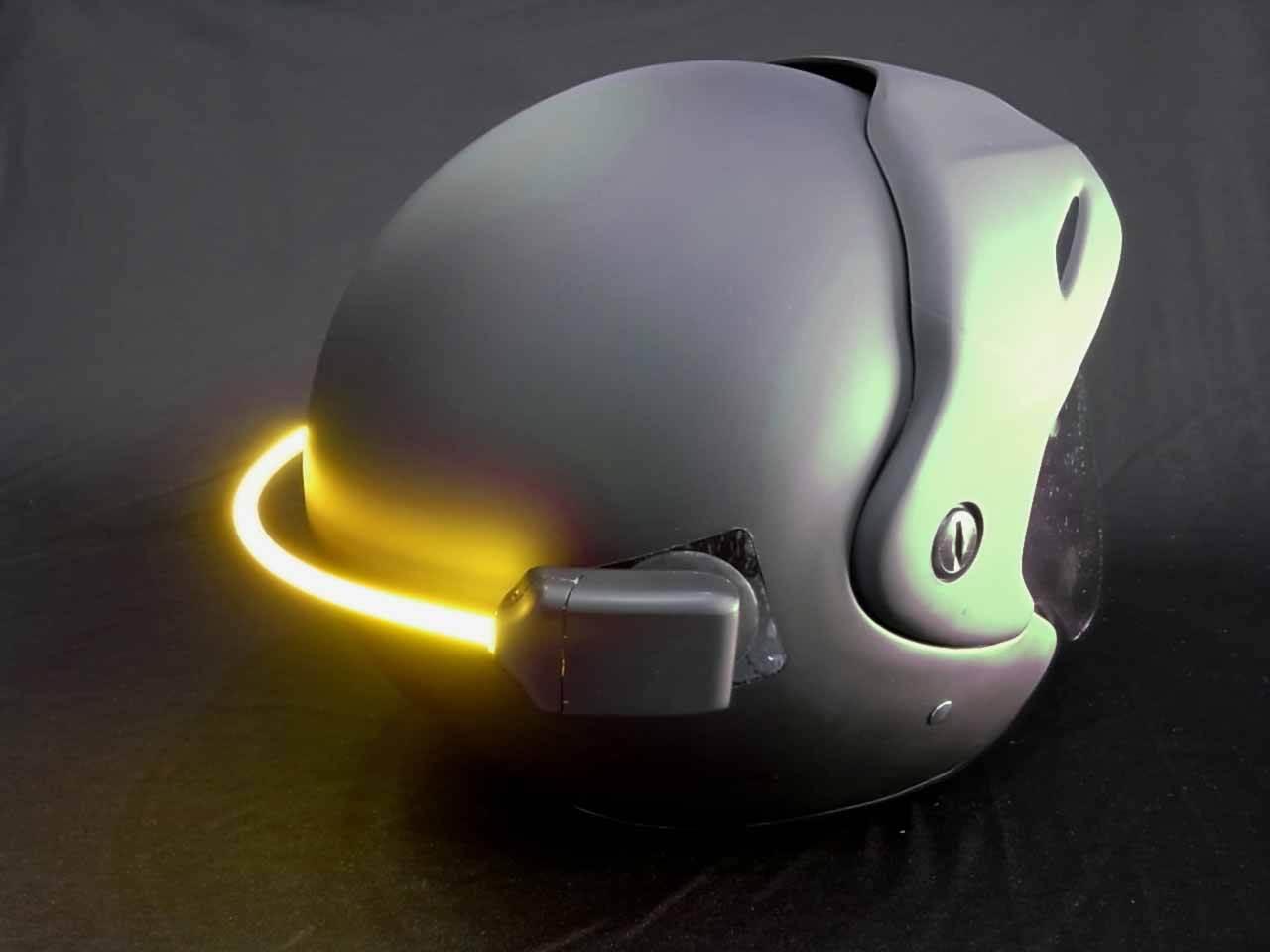 motosiklet kask arkasına led lamba
