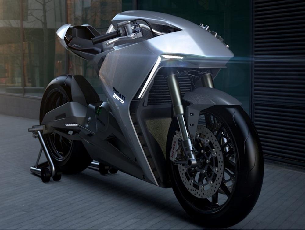 Elektrikli Ducati-Zero-sağ ön çapraz