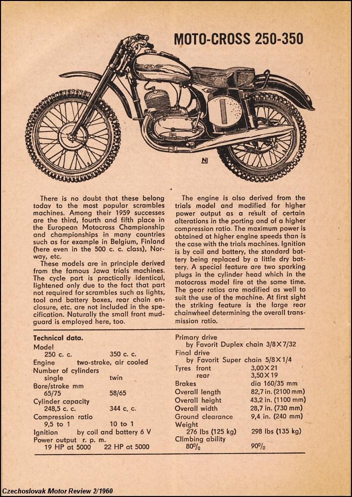 enduro Jawa, 1960 yılı dergi tanıtım sayfası